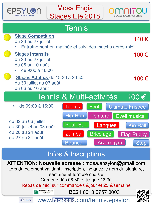 Stages Tennis Multi-activités Mosa Engis 2018 Liège