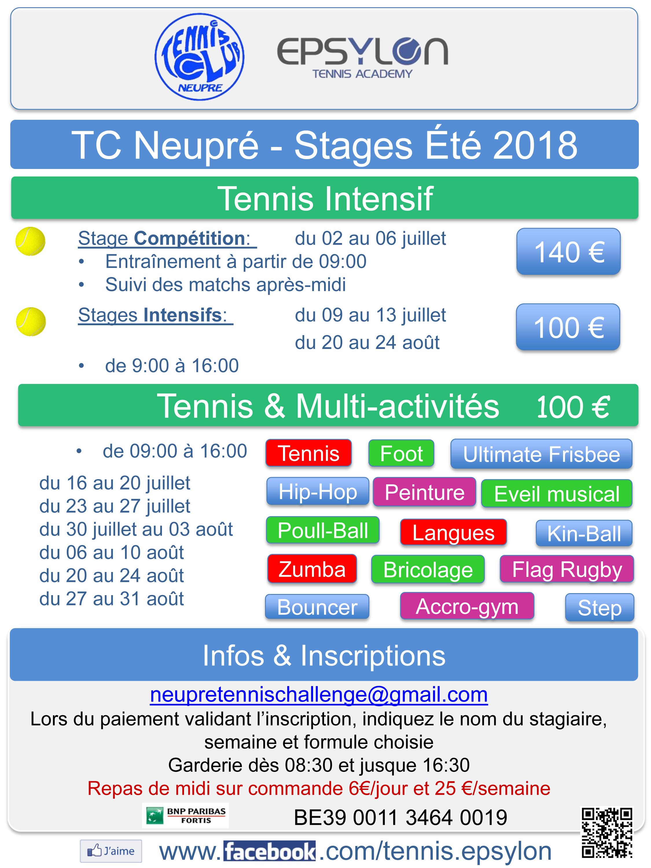 #Stages #Tennis #Multi-activités #Multi #Activités #Neupré #2018 #Liège #Compétition